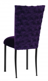 Aubergine Circle Ribbon Taffeta Chair Cover with Eggplant Velvet Cushion on Brown Legs