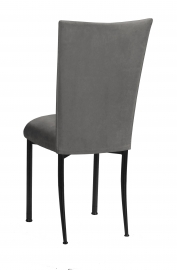 Charcoal Suede Chair Cover and Cushion on Black Legs
