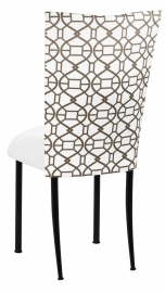 Smoke Kaleidoscope Chair Cover with White Suede Cushion on Black Legs