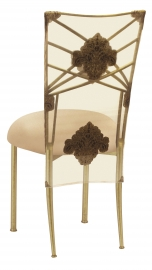 Gold Fanfare with Organza Medallion 3/4 Chair Cover and Toffee Stretch Knit Cushion