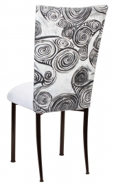 White Swirl Velvet Chair Cover with White Suede Cushion on Brown Legs