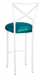Simply X White Barstool with Metallic Teal Stretch Knit Cushion
