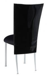 Black Patent 3/4 Chair Cover with Black Stretch Knit Cushion on Silver Legs