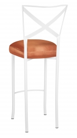 Simply X White Barstool with Orange Taffeta Boxed Cushion