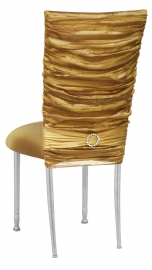 Gold Demure Chair Cover with Jeweled Band and Gold Stretch Knit Cushion on Silver Legs