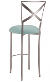 Simply X Barstool with Ice Blue Suede Cushion