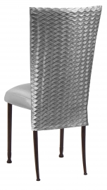 Charcoal Taffeta Scales 3/4 Chair Cover with Boxed Cushion on Mahogany Legs