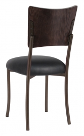 Wood Back Top with Black Leatherette Cushion on Brown Legs