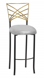 Two Tone Fanfare Barstool with Metallic Silver Cushion