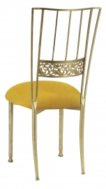 Gold Bella Fleur with Canary Suede Cushion