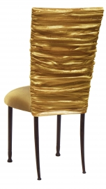 Gold Demure Chair Cover with Gold Stretch Knit Cushion on Mahogany Legs