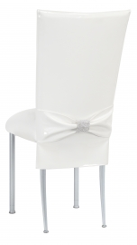 White Patent Chair Cover and Rhinestone Belt with White Stretch Knit Cushion on Silver Legs