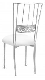 Silver Bella Fleur with White Stretch Knit Cushion