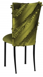 Olive Taffeta Petals Chair Cover with Olive Velvet Cushion on Black Legs