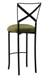Blak. Barstool with Olive Velvet Cushion