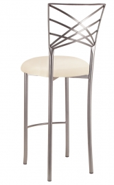 Silver Fanfare Barstool with Ivory Stretch Knit Cushion