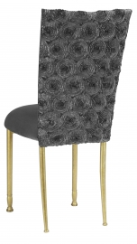 Pewter Circle Ribbon Taffeta Chair Cover with Charcoal Suede Cushion on Gold Legs