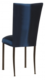 Midnight Blue Taffeta Chair Cover with Boxed Cushion on Brown Legs