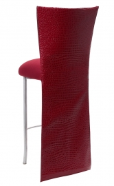 Red Croc Barstool Jacket with Cranberry Stretch Knit Cushion on Silver Legs
