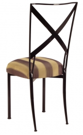 Blak. with Gold and Brown Stripe Cushion