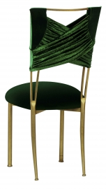 Green Velvet Sweetheart with Gren Velvet Cushion on Gold Legs