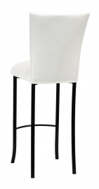 White Leatherette Barstool Cover and Cushion on Black Legs