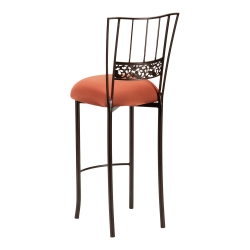 Bella Fleur Mahogany Barstool with Copper Stretch Knit Cushion
