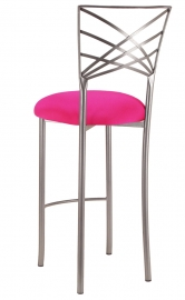 Silver Fanfare Barstool with Hot Pink Stretch Knit Cushion