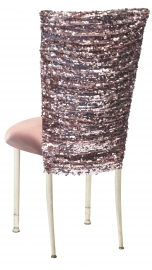 Blush Bedazzled Chair Cover and Blush Stretch Knit Cushion on Ivory Legs