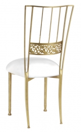 Gold Bella Fleur with White Leatherette Cushion
