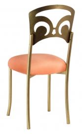 Gold Fleur de Lis with Cantaloupe Stretch Knit Cushion