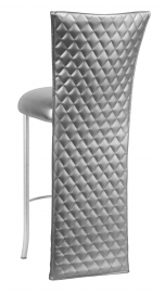 Silver Quilted Barstool Jacket with Silver Leatherette Boxed Cushion on Silver Legs