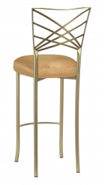 Gold Fanfare Barstool with Gold Taffeta Boxed Cushion