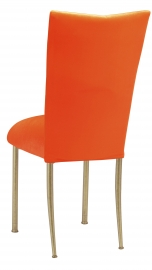 Orange Velvet Chair Cover and Cushion on Gold Legs