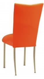Orange Velvet Chair Cover and Cushion on Gold Legs