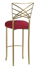 Gold Fanfare Barstool with Cranberry Stretch Knit Cushion
