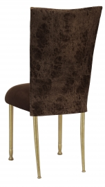 Durango Chocolate Leatherette with Chocolate Suede Cushion on Gold Legs