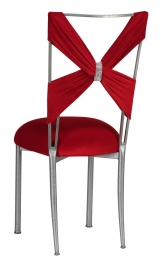 Red Velvet Criss Cross with Rhinestone Accent on Silver Legs