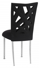 Geometric Chair Cover with Black Suede Cushion on Silver Legs