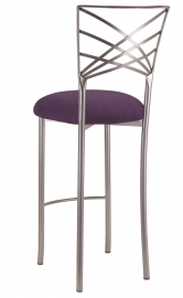 Silver Fanfare Barstool with Lilac Suede Cushion