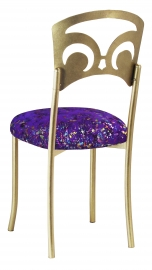 Gold Fleur de Lis with Purple Paint Splatter Stretch Knit Cushion