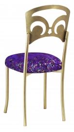 Gold Fleur de Lis with Purple Paint Splatter Stretch Knit Cushion