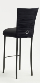 Chloe Black Stretch Knit Barstool Cover with Jewel Band and Cushion on Brown Legs
