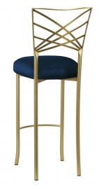 Gold Fanfare Barstool with Midnight Blue Taffeta Boxed Cushion