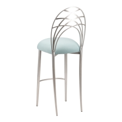 Silver Piazza Barstool with Ice Blue Suede Cushion