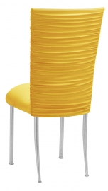 Chloe Bright Yellow Stretch Knit Chair Cover and Cushion on Silver Legs