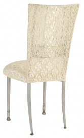 Ivory Bella Fleur with Ivory Lace Chair Cover and Ivory Lace over Ivory Stretch Knit Cushion