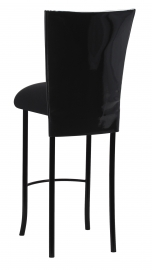 Black Patent Barstool Cover with Black Velvet Cushion on Black Legs