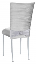 Chloe Silver Stretch Knit Chair Cover, Jewel Band and Cushion with Silver Legs