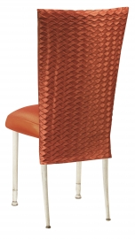 Orange Taffeta Scales 3/4 Chair Cover with Boxed Cushion on Ivory Legs